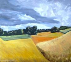 peinture de la campagne orageuse près de Romainmôtier