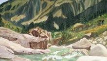peinture de la vallée du Splügen dans les Grisons