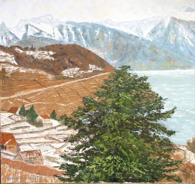 peinture de la vue sur le Léman et les Alpes depuis Grandvaux