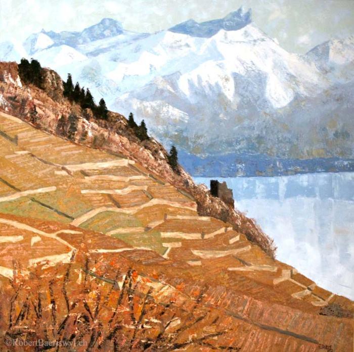 peinture de la Tour de Marsens avec dans le fond le Léman et la Tour d'Ai