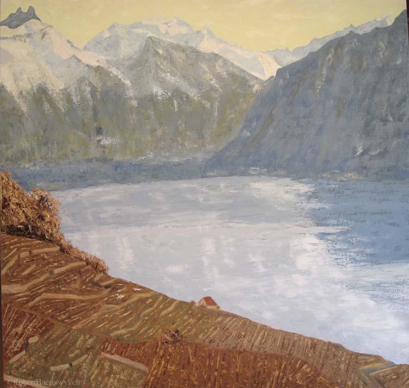 peinture du Chablais, du Léman et des Alpes depuis le Lavaux en automne