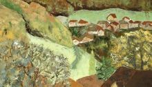 peinture de la plaine vaudoise depuis Juriens en été
