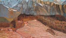 peinture de la Tour d'Aï et des vignes en avant plan