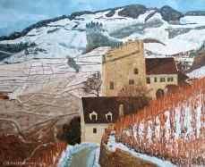peinture de la Tour de Marsens dans les vignoble du Lavaux en hiver
