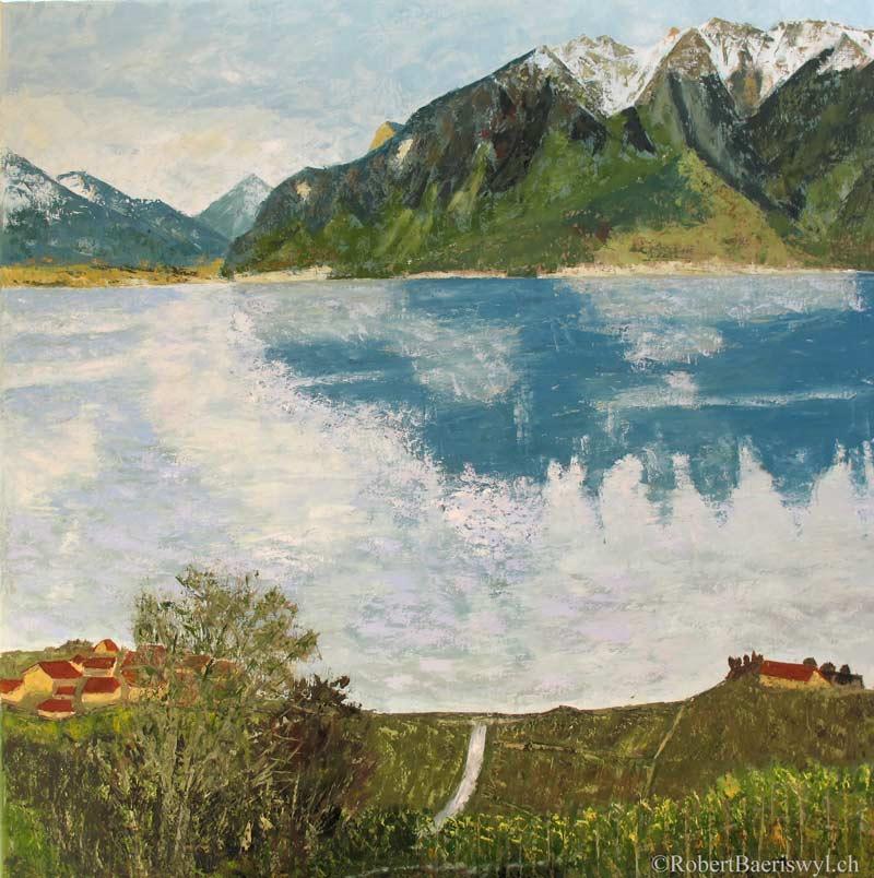 peinture du Léman et de la vallée du Rhone depuis le Lavaux