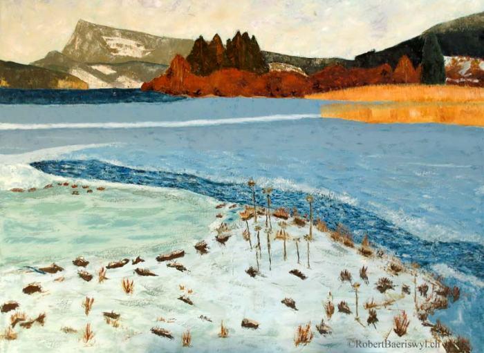 peinture du lac de la vallée de Joux en hiver