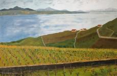 peinture des vignes et du Léman depuis Riex
