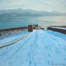 """peinture de """"La Capite"""" sur fond de neige et du Léman"""