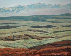 peinture de la plaine vaudoise et des Alpes depuis Juriens