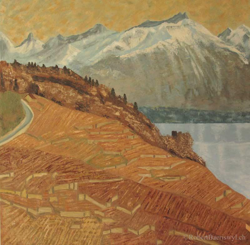 peinture de la vue sur les Alpes et le Léman depuis la Tour de Marsens