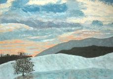 peinture du ciel hivernal de la campagne près de Romainmôtier