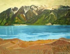 peinture du Gramont et du Léman depuis les vignobles de Lavaux