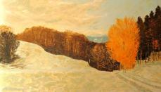 peinture de la campagne hivernale près de Romainmôtier