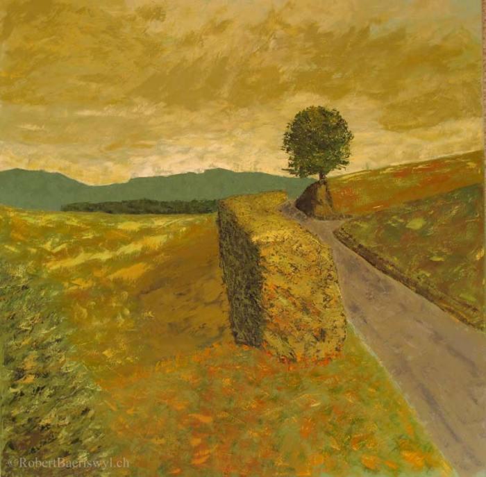 peinture d'une route de campagne dominée par un arbre solitaire, près de Romainmôtier