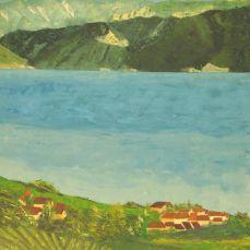 peinture du Léman et des Alpes depuis Epesses dans le Lavaux