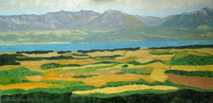 peinture de la vue sur la plaine vaudoise et le Léman depuis Pailly