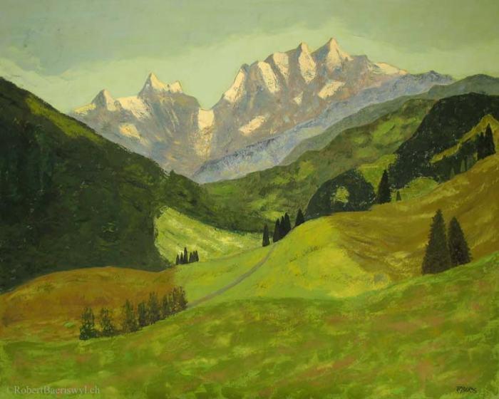 peinture de la vallée du Kiental dans les Alpes bernoises