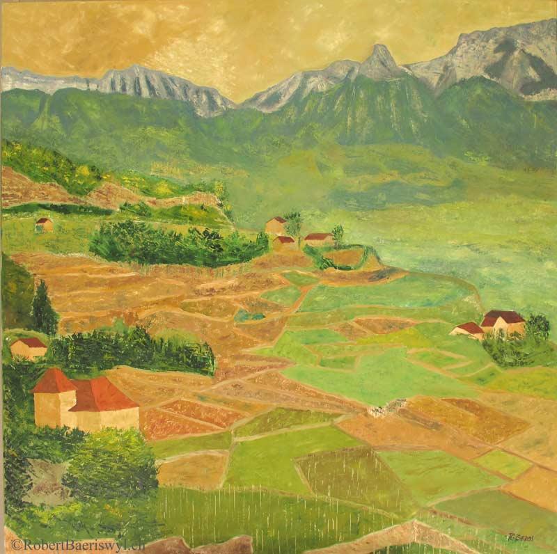 peinture des vignes sous Chexbres et vue sur les Alpes
