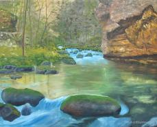 Peinture de la riviere Loue dans le Jura