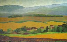 peinture du village de la Chaux et de la campagne environnante