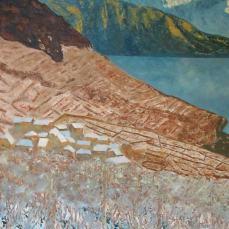 Peinture du Muveran depuis le Lavaux en hiver