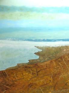 peinture du Lavaux et de son ciel en automne