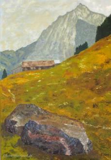 peinture d'un chalet et des montagnes dans la vallée du Kiental dans les Alpes Bernoises