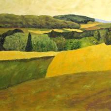 peinture des champs de colza en fleur dans la campagne pres de Chevilly