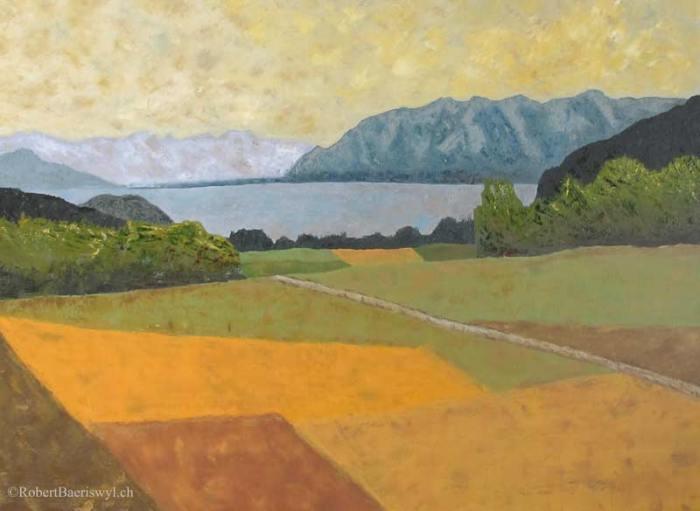 peinture du Léman et des Alpes depuis la campagne au-dessus de Grandvaux