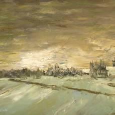 peinture représentant la campagne en hiver