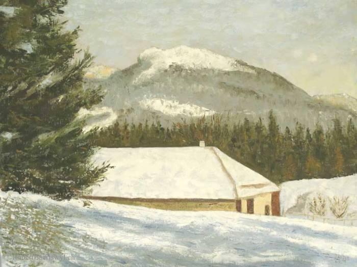 peinture d'un chalet de Premier (Vaud, Suisse) en hiver