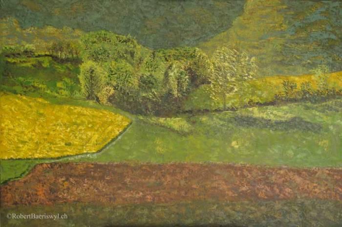 peinture de la campagne avoisinant Rances dans le canton de Vaud