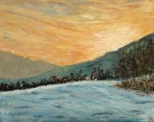 peinture d'un coucher de soleil hivernal dans le Jura suisse