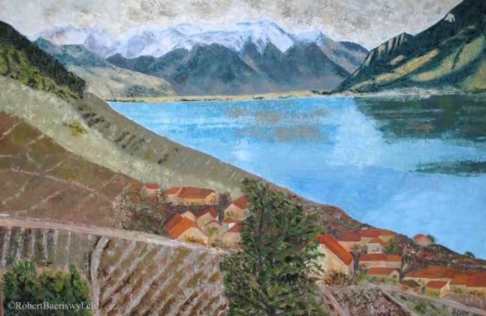 peinture des Alpes et du Chablais depuis Epesses