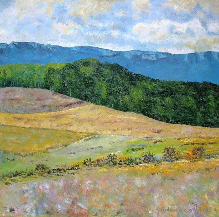 peinture de la campagne pres d'Arnex dans le canton de Vaud