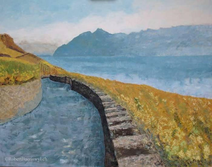 peinture d'un chemin de vigne dans le Lavaux, surplombant le Léman