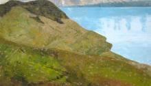 peinture des vignobles de lavaux et de la tour d'Aï surplombant le Léman