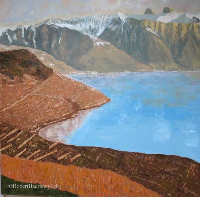 peinture des vignobles de lavaux et de la tour d'Aï surplombant le Léman en automne
