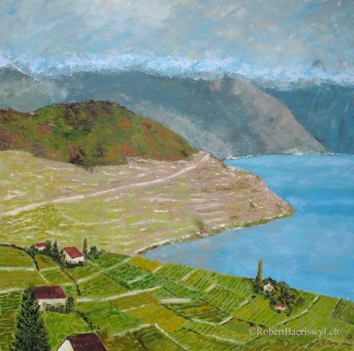 peinture des vignobles de lavaux surplombant le Léman, la tour d'Aï est dans les nuages