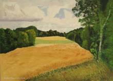 peinture à l'huile portraitant un champ de blé dans la campagne près de Romainmôtier