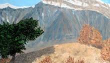 peinture du Grand Chavalard dans les Alpes suisses
