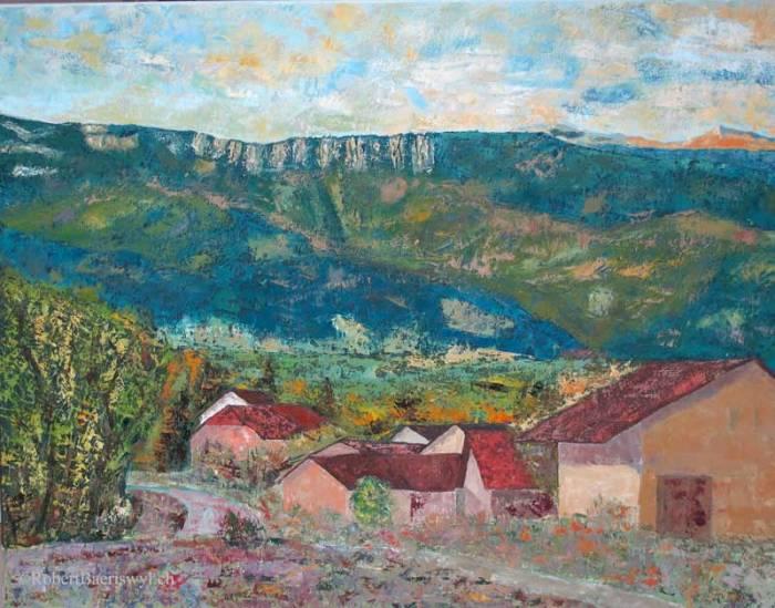 peinture du village de Boflens dans le canton de Vaud et des montagnes à l'horizon