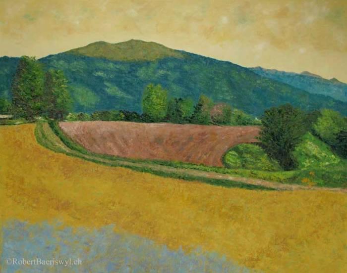 peinture du sommet du Suchet, un sommet du Jura suisse, vu depuis le village de Juriens