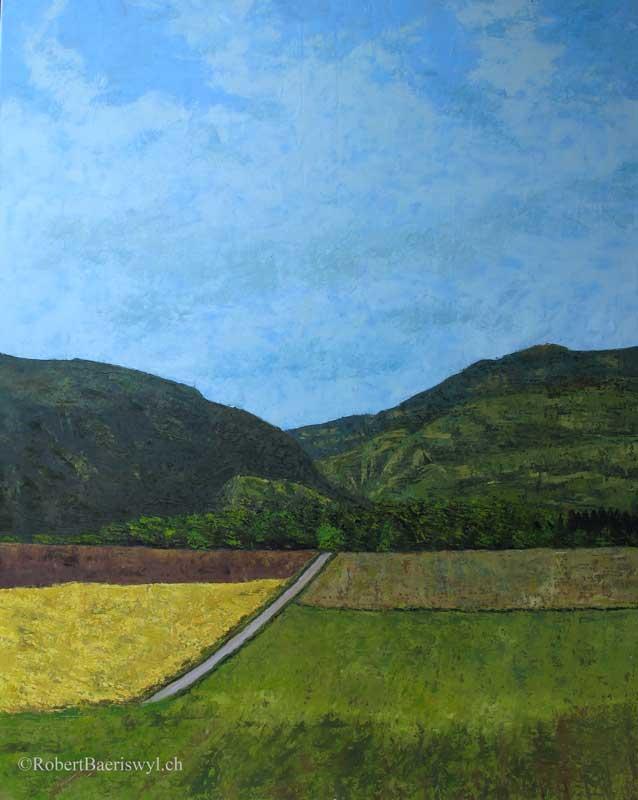 peinture de l'arrivée au village de Ste-Croix dans le Jura suisse